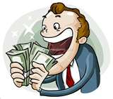 greedy man with money cartoon